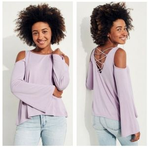 Bell Sleeve Cold Shoulder Top Light Purple L